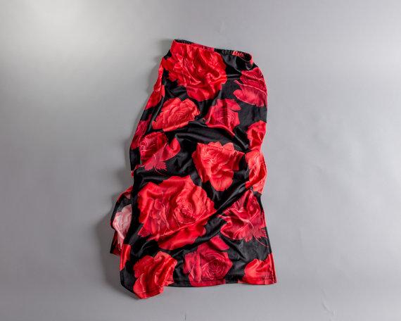1990s Long Red & Black Rose Venus Skirt