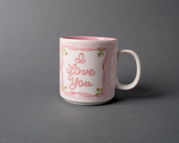 I Love You Pink Little Kawaii Coffee Mug
