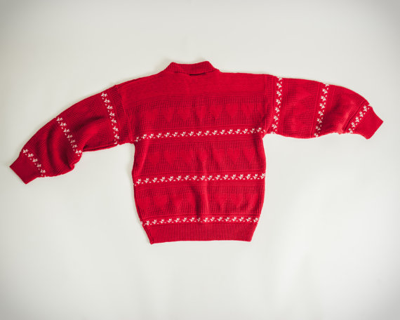 Vintage 1980s Cute Red & White Heart Sweater