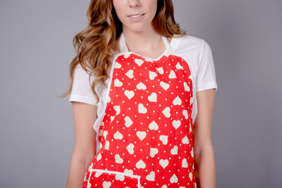 Classicly Cute Red & White Polka Dot Heart Apron
