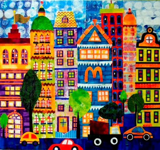 Cityscape series, Terraced Houses, gelli-plate printed papers and collage on wood panel boards, 65 x 70 cm (Small).jpg