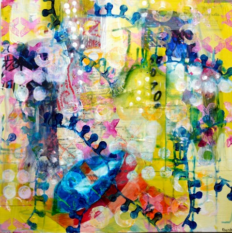 Impressions of my garden series, Morning Glow, Mixed media on canvas, 40 x 40cm (Small).jpg