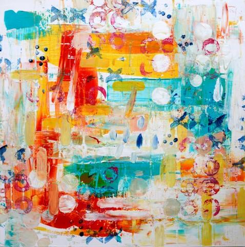 Mooloolba Beach Series, Memories of Mooloolba #1, acrylic on wood panel board, 50 x 50 cm (Small).jpg