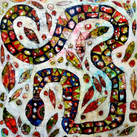 Reptiles in the Bark Series, Snake in Leaf Litter, Mixed Media, acrylic and collage on wood panel, 50 x 50 cm (Small).jpg