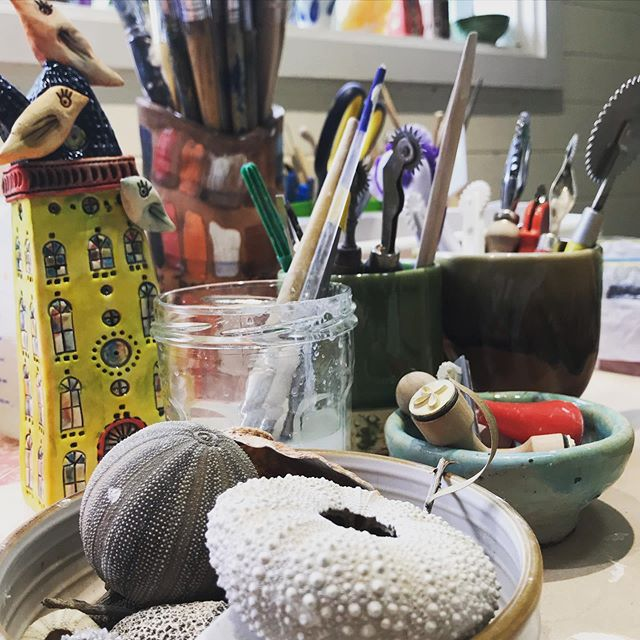 My work table... #worktable  #toolsofthetrade  #ceramicartist  #littlehouse  #inthestudio  #melbourneartists  #yarravalley  #rhondanadasdyartist  #mudmarks