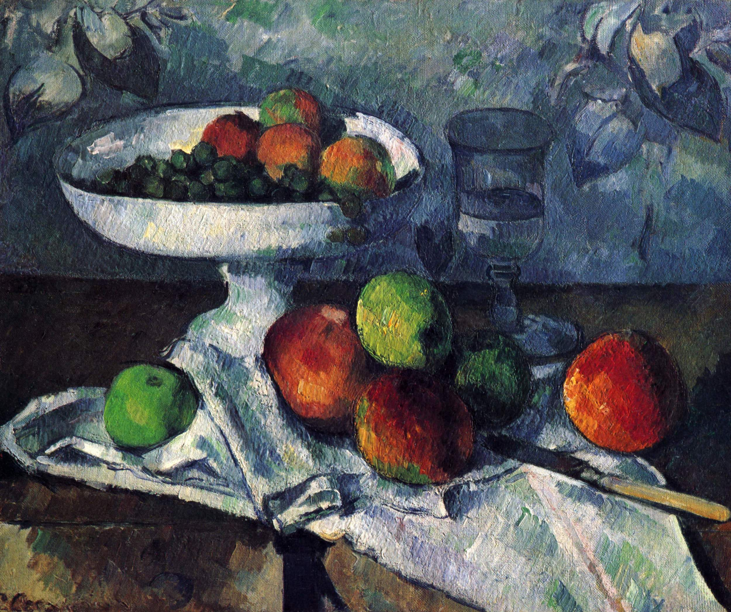 Paul Cézanne,  Fruit Bowl, Glass and Apples , 1879–80, Museum of Modern Art, New York.