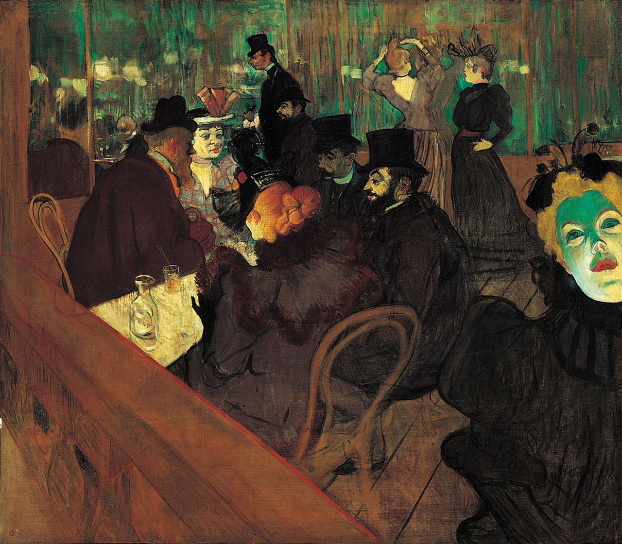 Henri Toulouse-Lautrec,  At the Moulin Rouge , 1895, Art Institute of Chicago.