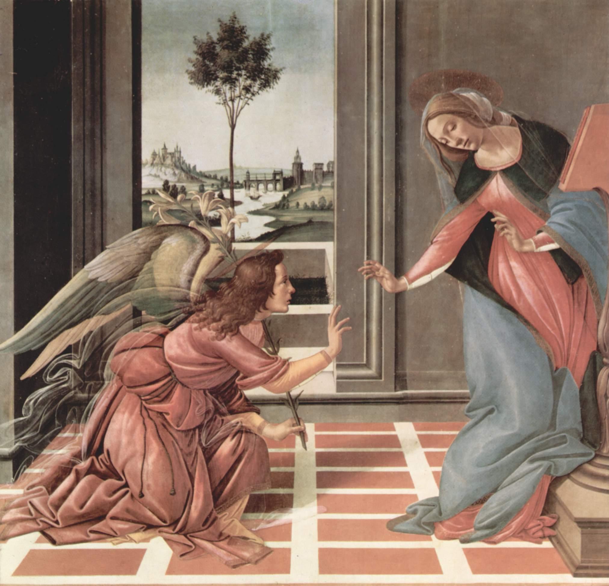 Sandro Botticelli,  Annunciation , 1489–1490, Uffizi Gallery, Florence.