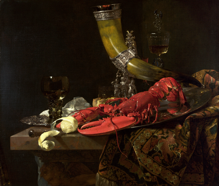 Willem Kalf,  Still Life with the Drinking-Horn of the Saint Sebastian Archers' Guild, Lobster and Glasses , 1653, National Gallery, London.