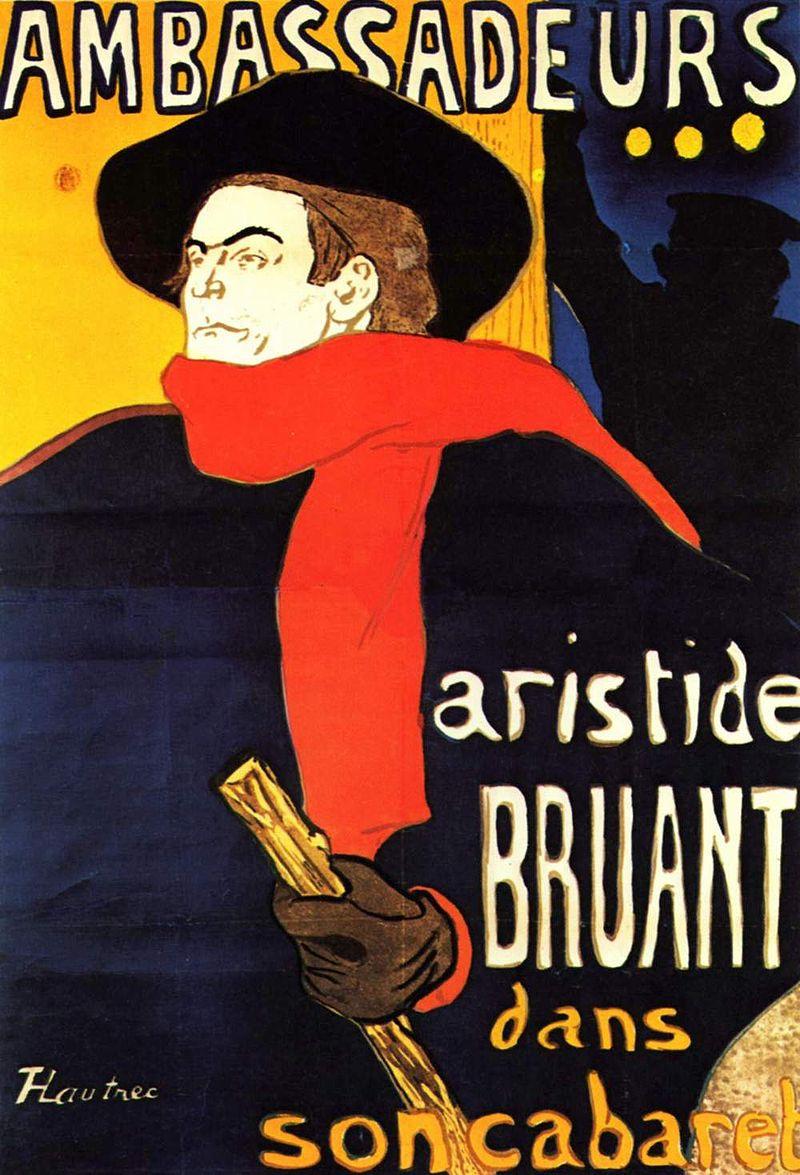 Henri de Toulouse-Lautrec,  Ambassadeurs – Aristide Bruant , 1892, Private Collection.