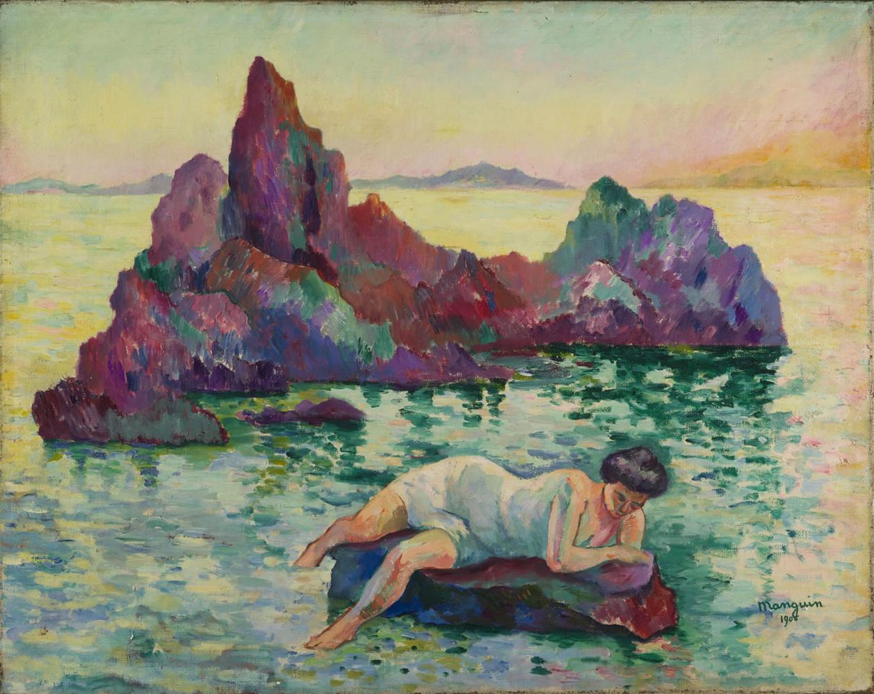 Henri Manguin,  Le Rocher (La Naïade, Cavalière) , 1906, Private Collection.