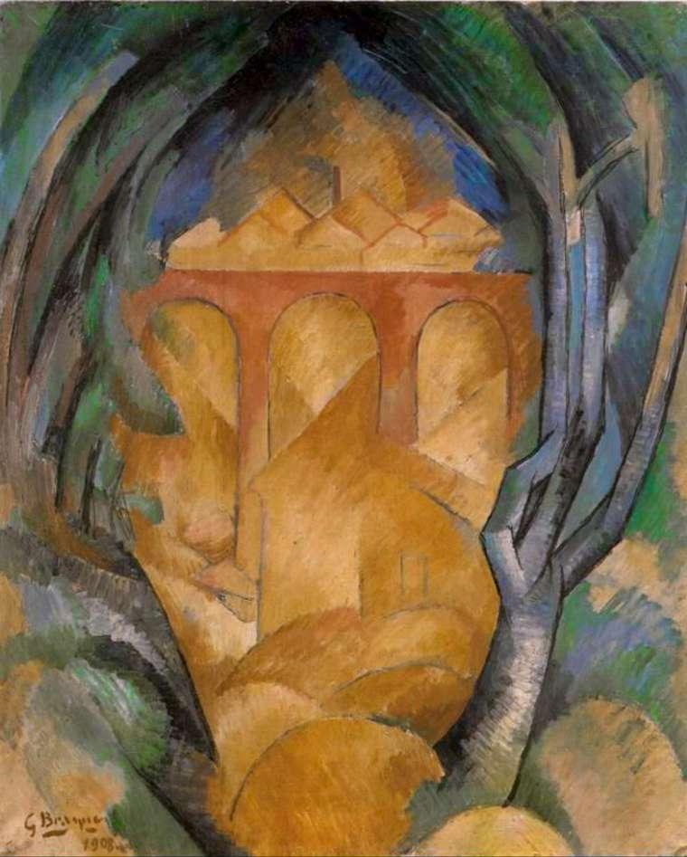 Georges Braque,  Le Viaduc de L'Estaque (Viaduct at L'Estaque) , 1908, Tel Aviv Museum of Art.