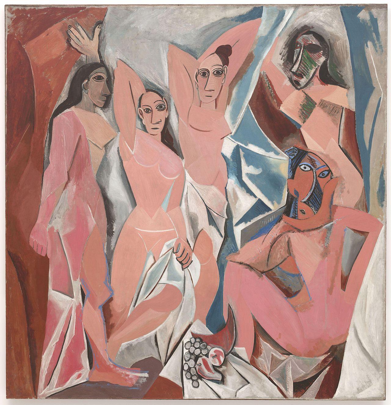 Pablo Picasso,  Les Demoiselles d'Avignon (The Young Ladies of Avignon),  Originally titled: The Brothel of Avignon , 1907, Museum of Modern Art, New York.