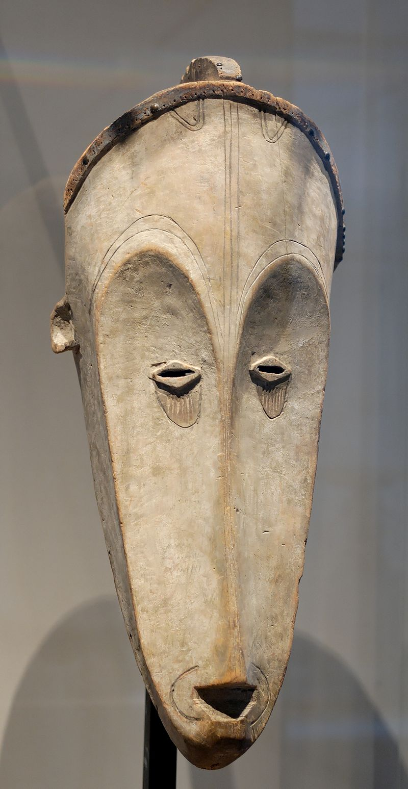 Fang mask used for the ngil ceremony, an inquisitorial search for sorcerers, Gabon, 19th Century, Louvre Museum, Paris.
