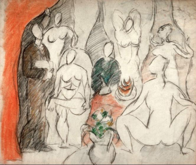 Pablo Picasso,  Study for Les Demoiselles d'Avignon , 1907, Kunstmuseum, Basle.