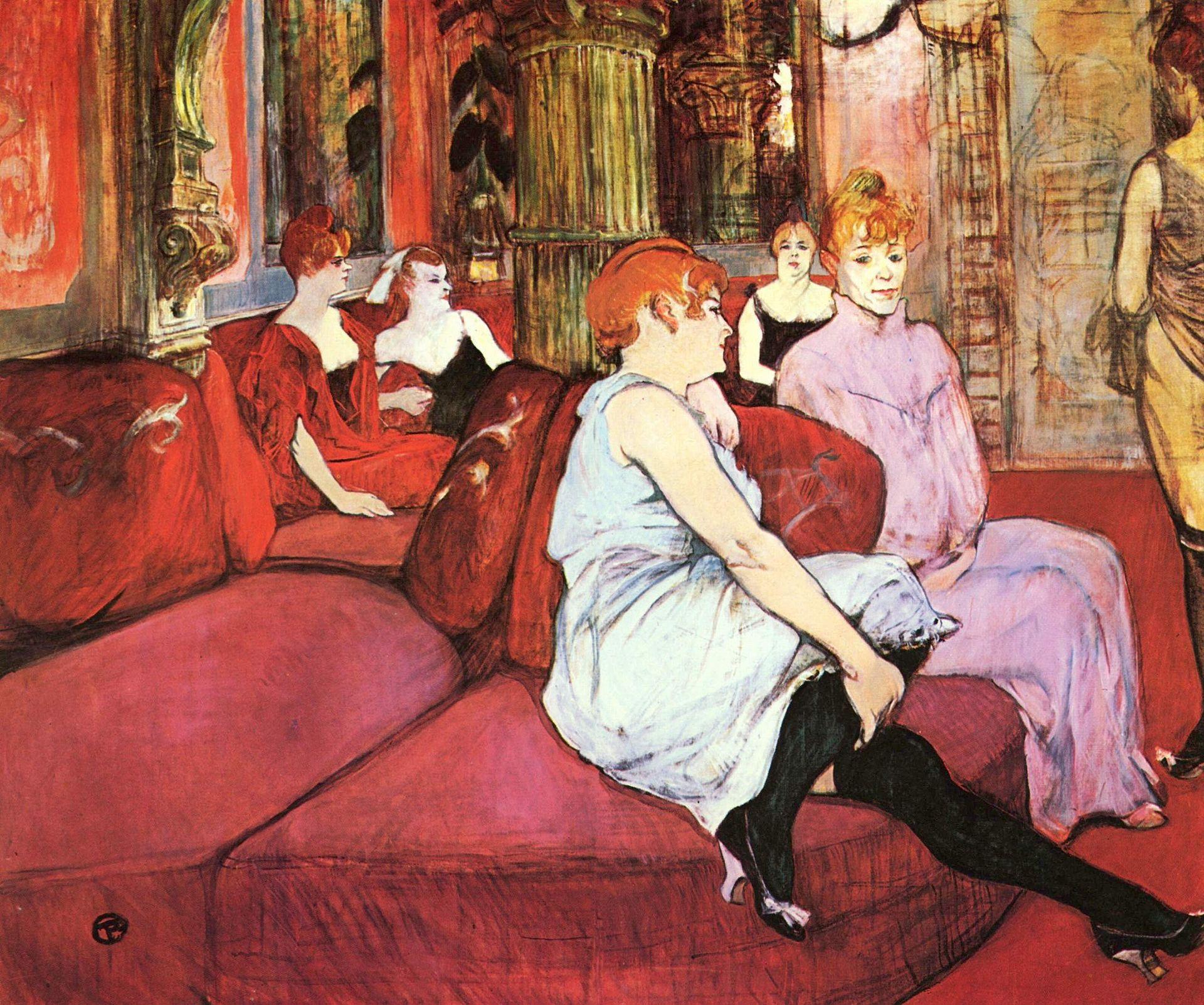 Henri de Toulouse-Lautrec,  The Salon of the Rue des Moulin  s , 1894, Musée Toulouse-Lautrec d'Albi, France.