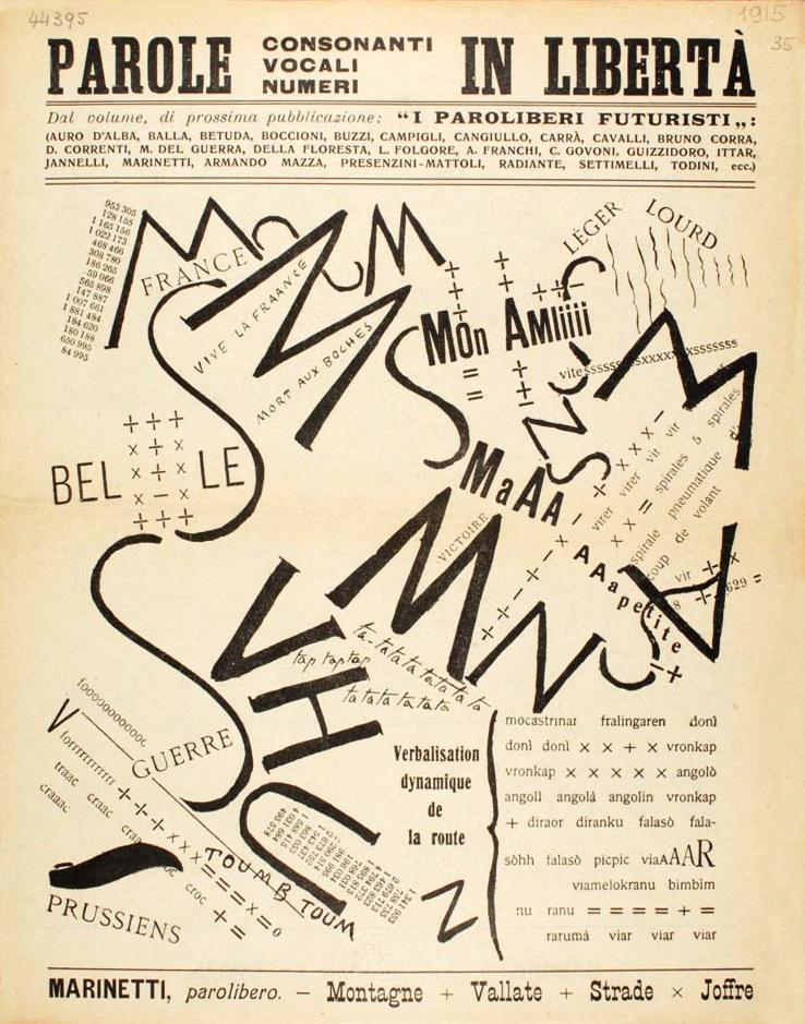 Filoppo Marinettu,  A Tumultuous Assembly , Foldout from Les mots en Liberté Futuristes, 1919.
