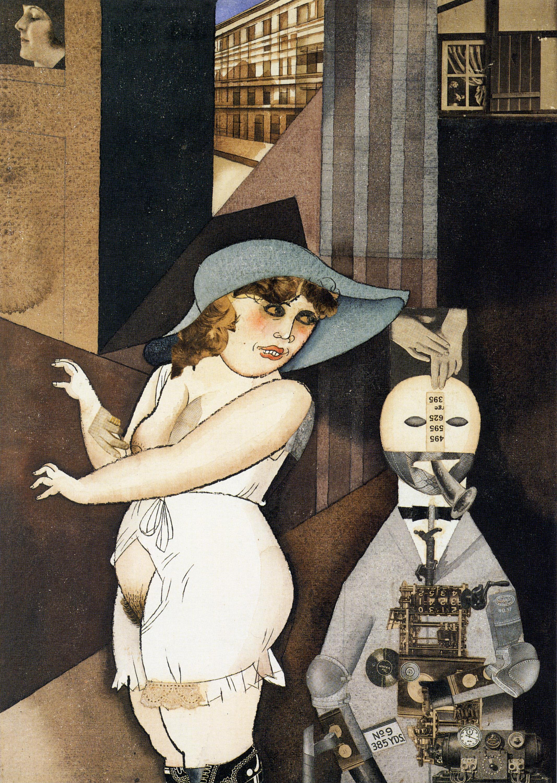 George Grosz,  Daum marries her pedantic automaton George in May 1920, John Heartfield is very glad of it , 1920, Berlinische Galerie.
