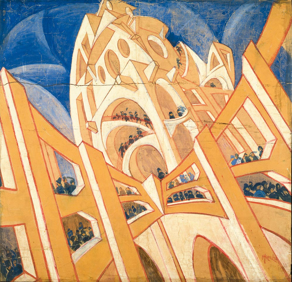 Virgilio Marchi,  Building Seen from a Veering Airplane , 1919–20, Private collection, Switzerland.
