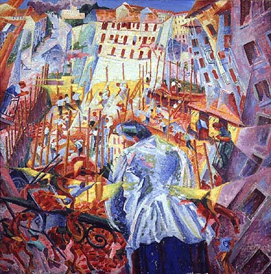 Umberto Boccioni,  The Street Enters The House,  1911, Sprengel Museum, Hanover.