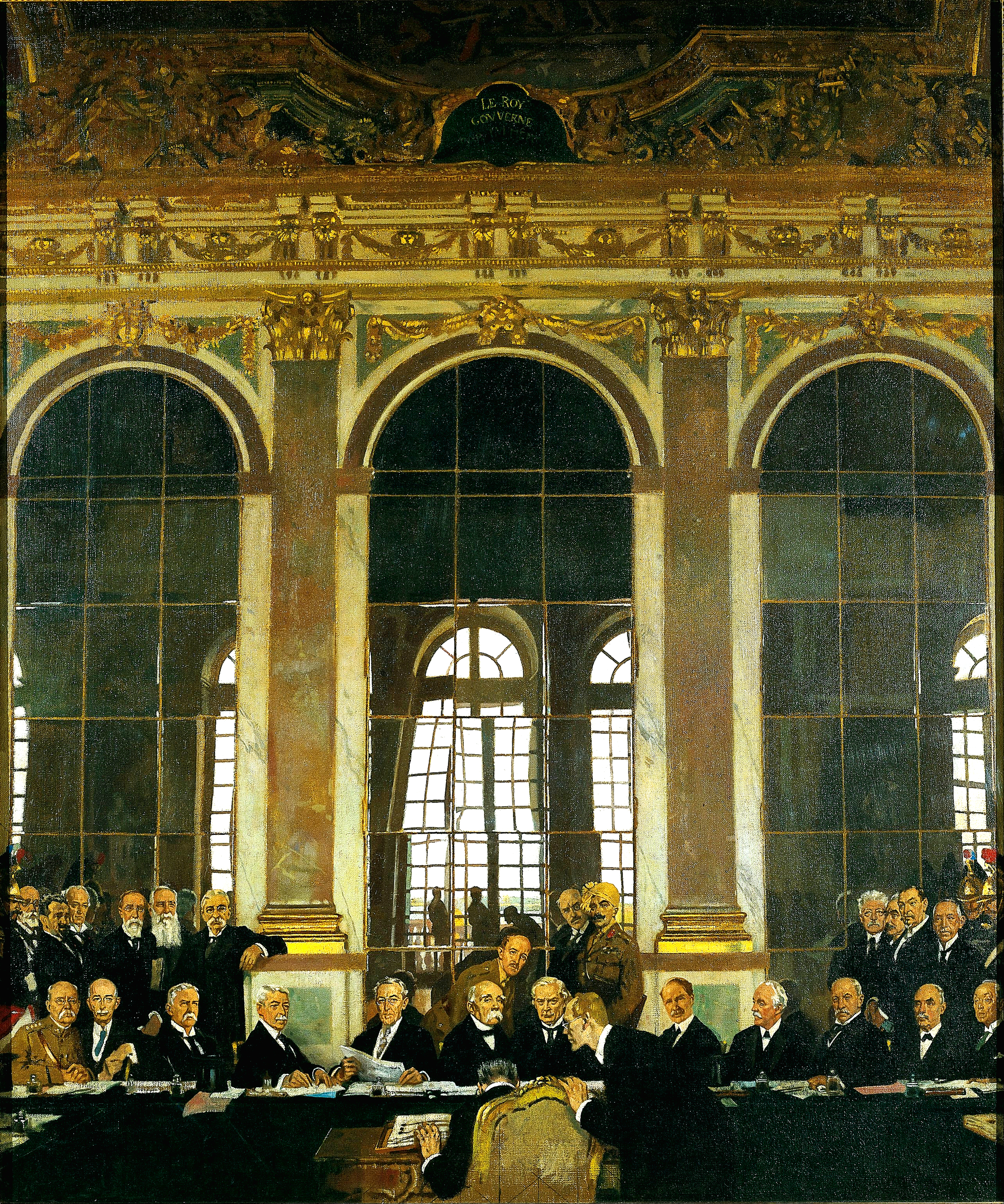 William Orpen,  The Signing of Peace in the Hall of Mirrors, Versailles , 28th June 1919, Imperial War Museum, London.