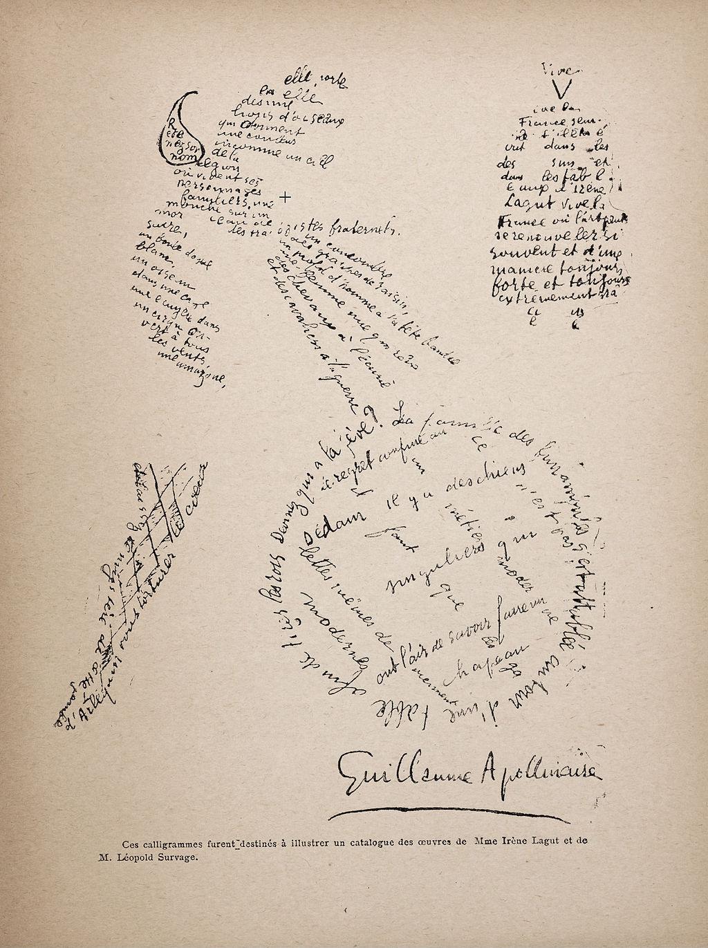 Guillaume Apollinaire,  Calligram , 1920.