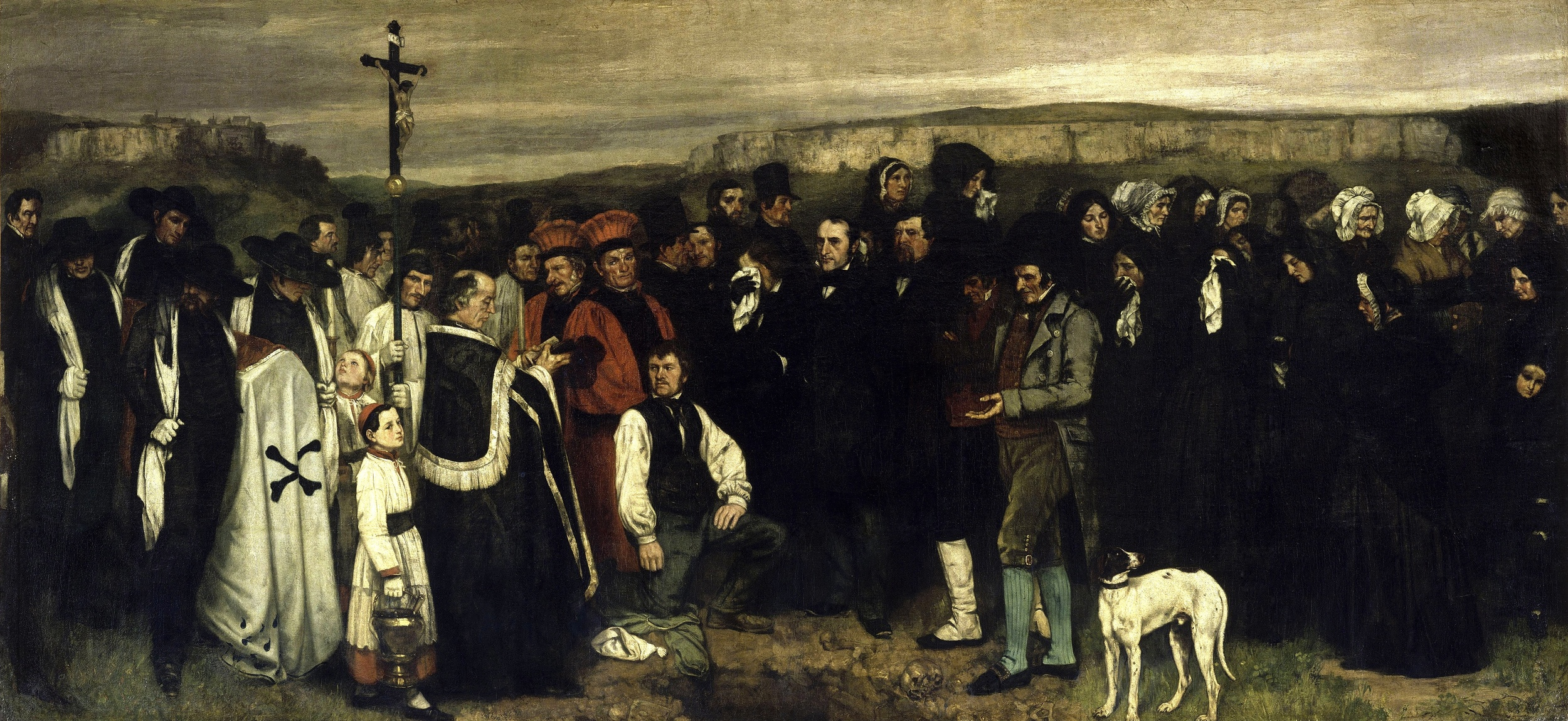 Gustave Courbet,  A Burial at Ornans , 1849–50, Musee d'Orsay, Paris.