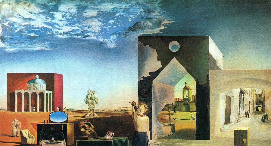 Salvador Dalí,  Suburbs of a Paranoiac Critical Town (Afternoon on the Outskirts of European History) , 1936.