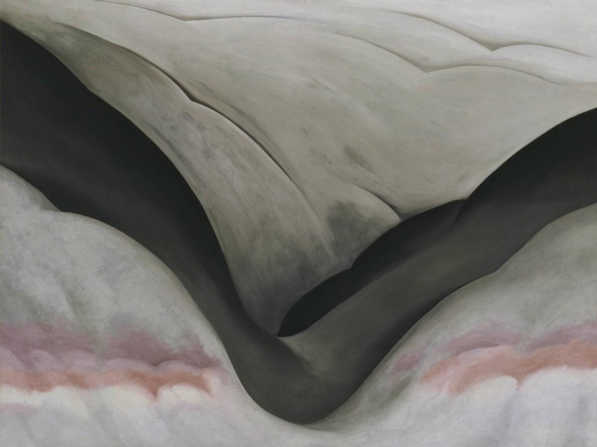Georgia O'Keeffe,  Black Place, Grey and Pink , 1949, Georgia O'Keeffe Museum, Santa Fe.