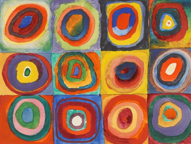 Wassily Kandinsky,  Squares with Concentric Circles , 1913, Lenbachhaus, Munich.