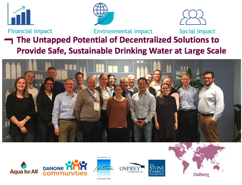 Collaboration of Like Minded Investors - Initiated collaboration between (venture philanthropy) investors of the water kiosk business model. Within the sector this model is seen as the most sustainable and scalable model to provide access to safe drinking water in developing countries.Key results:Align on collaboration to move the sector forward.Align on terminology and definitions (talk the same language)Agree on a deep dive study into 14 portfolio companies of the investorsManaged the multi client research (including selection of the company to execute the research) on a day to day basis + aligning with the investor teams Share lessons learned and share the collective knowledge with the outside worldInform sector, governments, donors, funders, suppliers about sector developments and the opportunities in scaling this business modelAfter the research: investors worked together in screening & investingThe collaboration included one pension fund (Danone), 3 family offices (Stone, Osprey & Hilton) and one NGO (Aqua for All).
