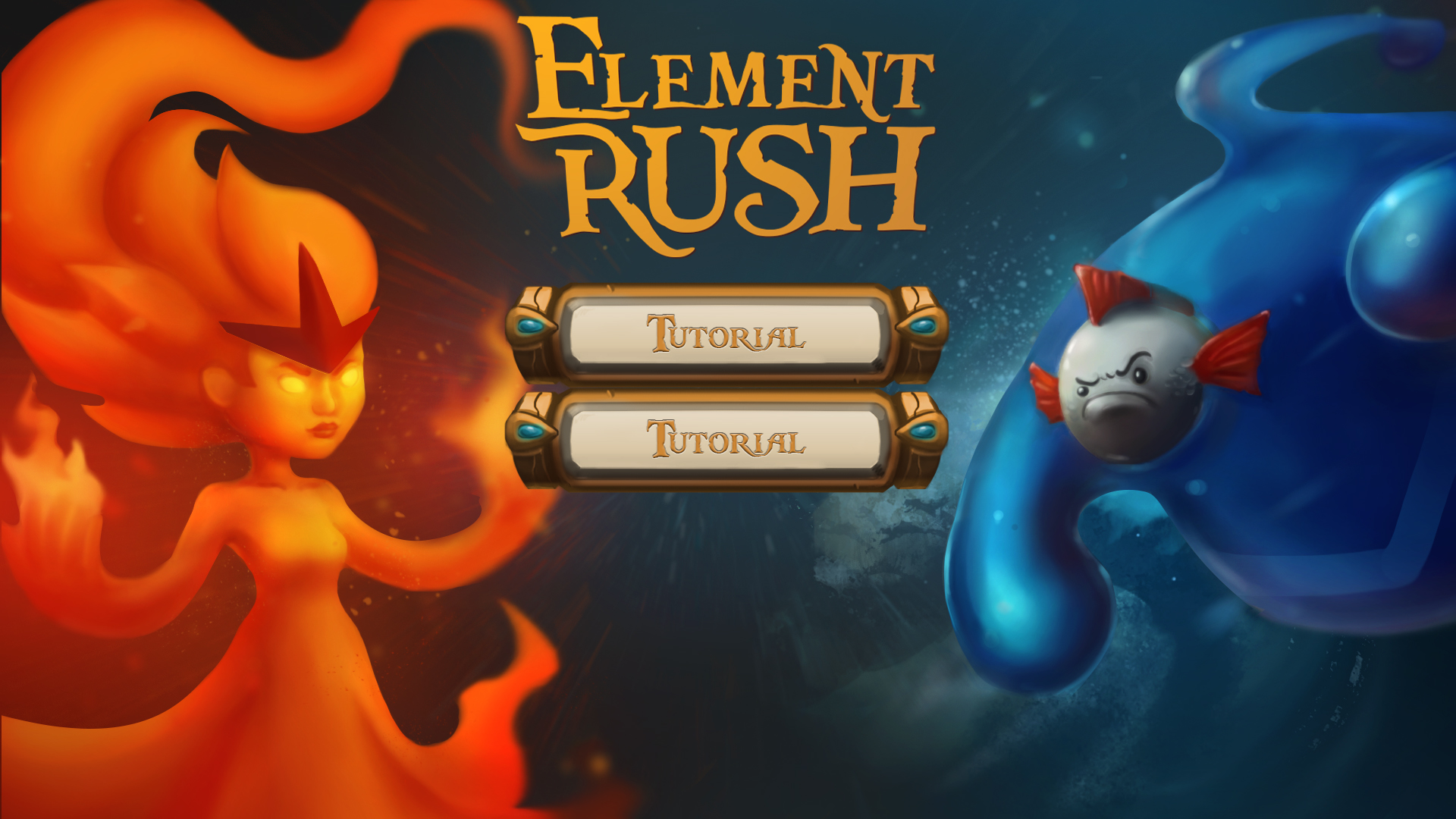 Main menu UI design for Element Rush