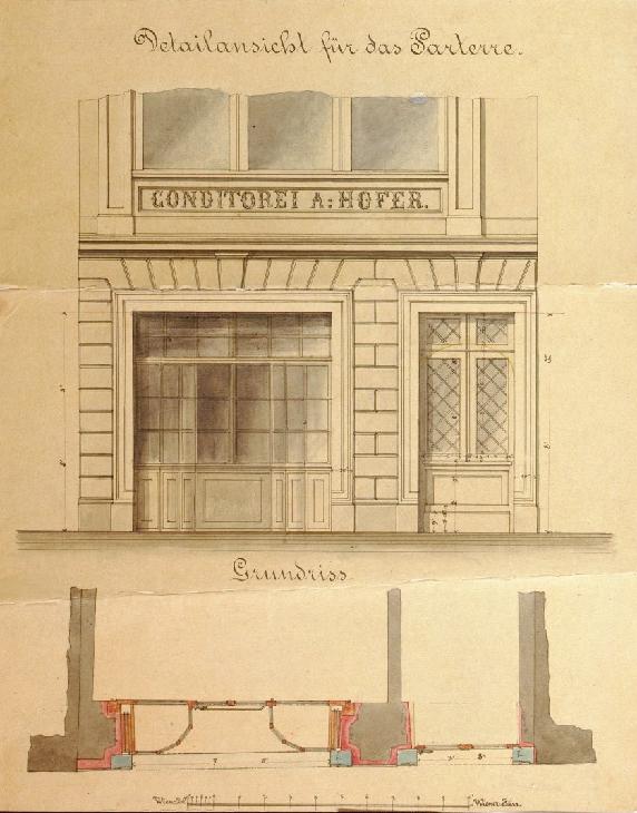 Fassadenansicht bereits mit Konditorei Beschilderung ca. 1860
