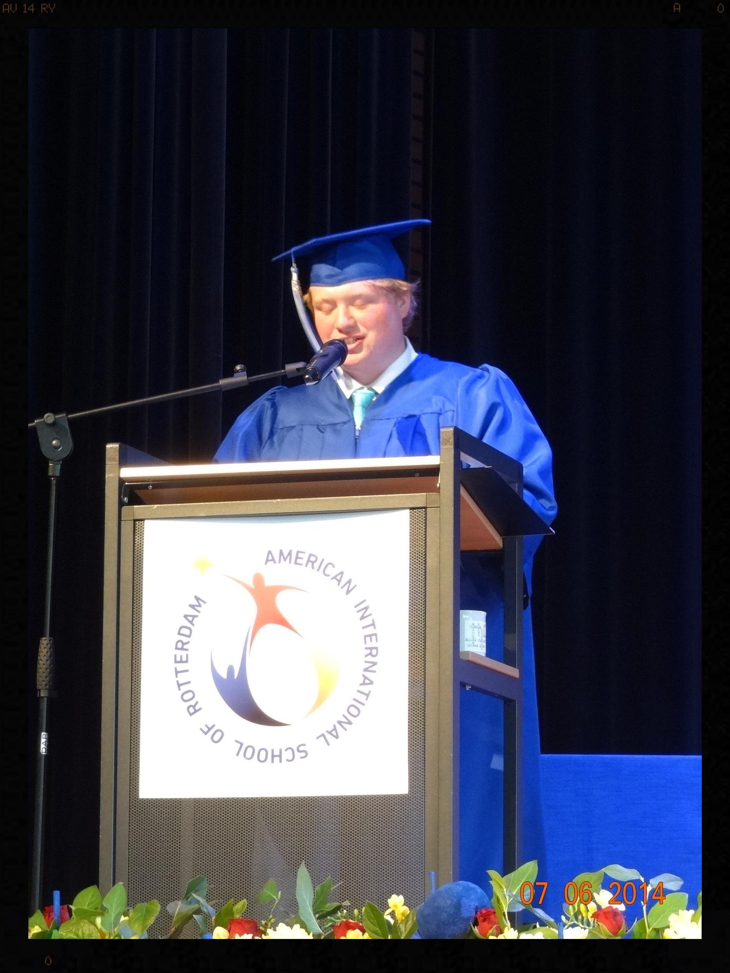 My son giving his speech.