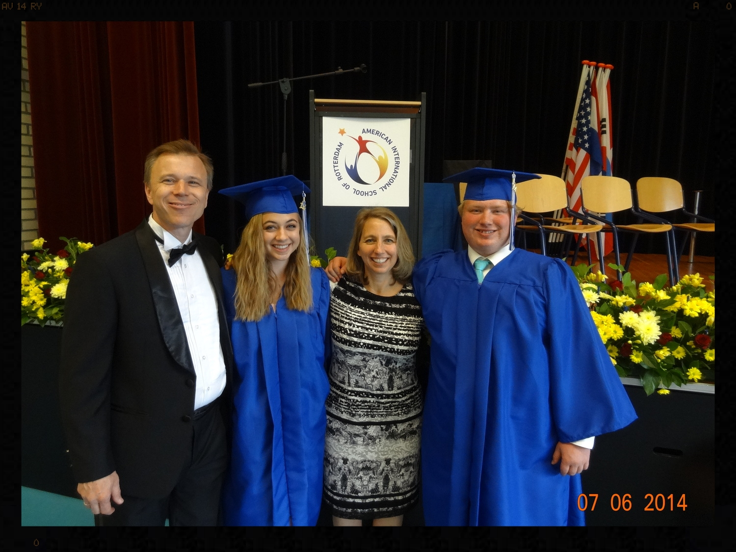 My husband and I with our graduated seniors.