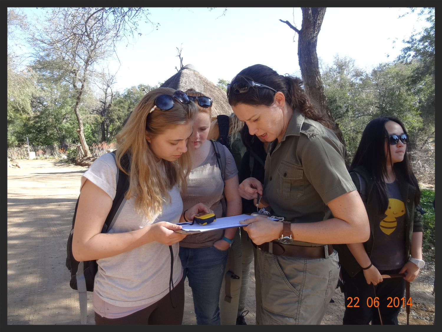 Daniella teaching the group what skills they will need for the game transect data collection.