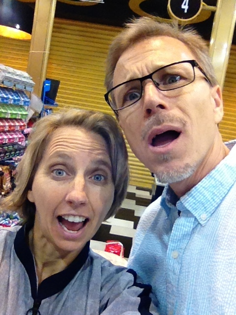 My husband and I locked inside the grocery store during prayer time. Being silly about it.