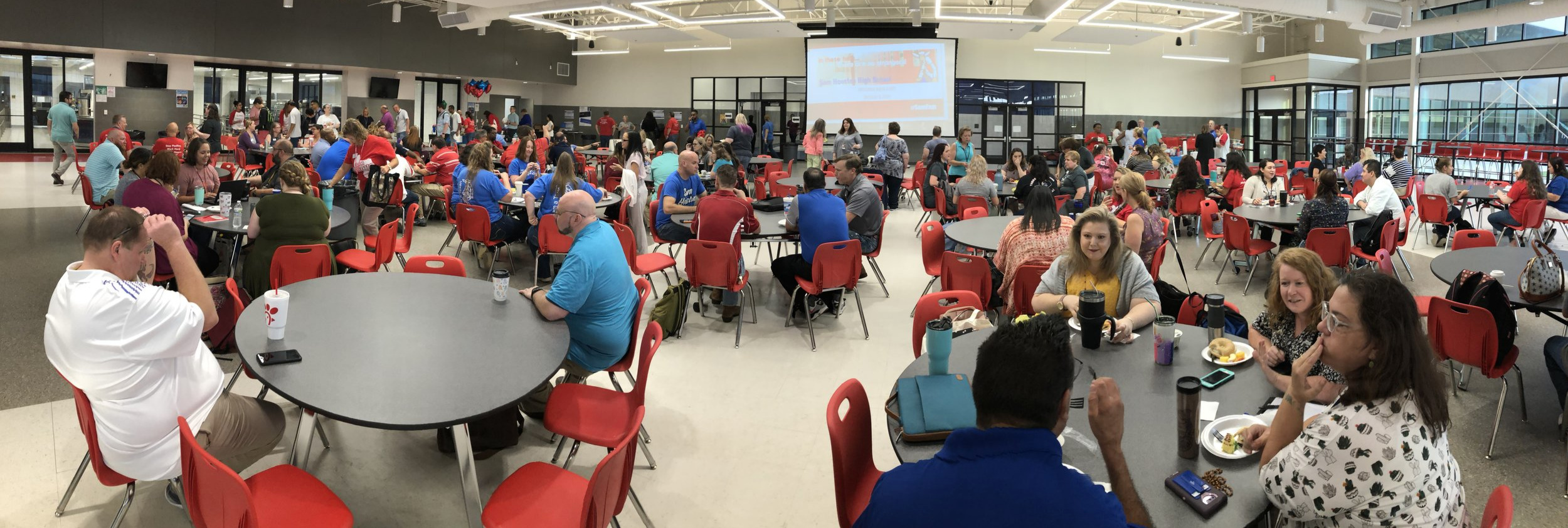 Faculty & Staff enjoying breakfast 8/8/19, served by the SHHS Alumni Association, in the Texan Cafe at Sam Houston.