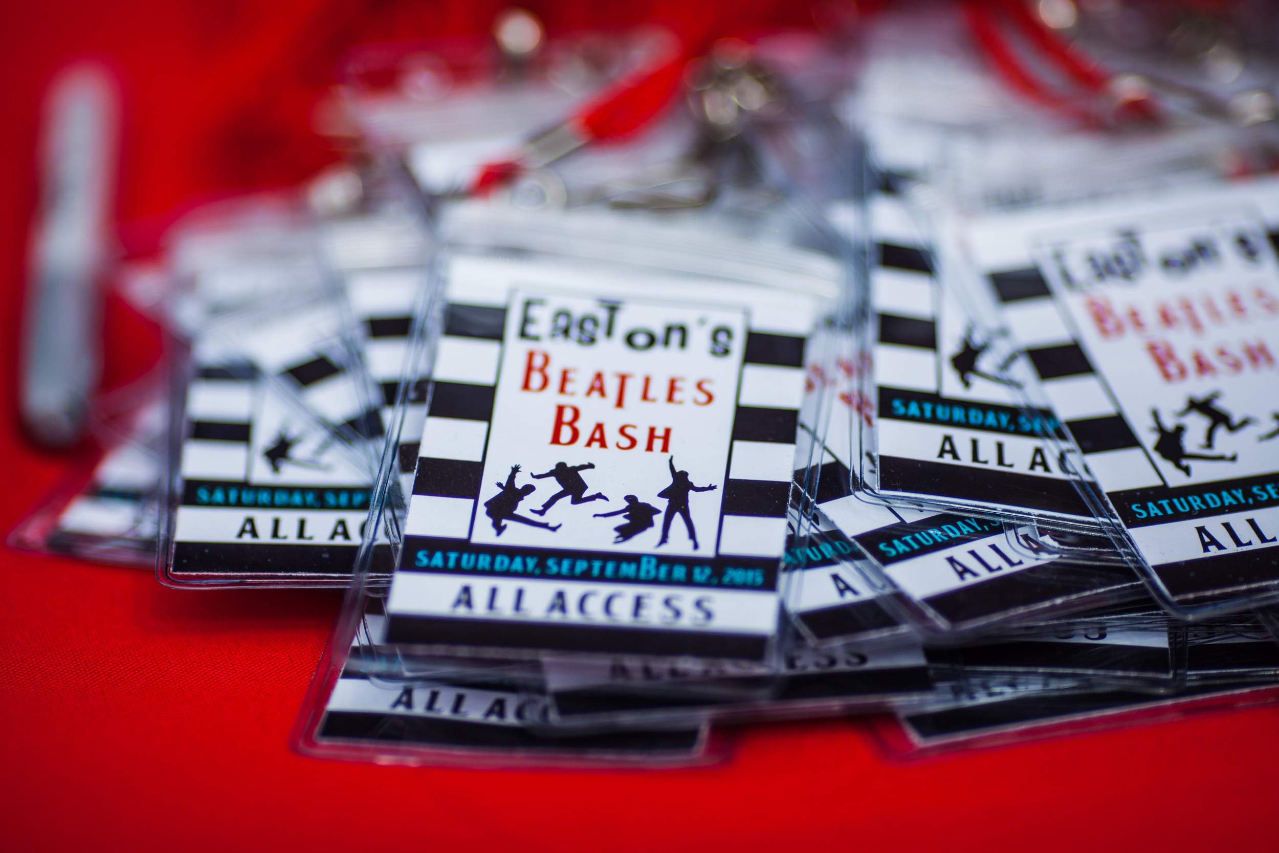 Beatles Bash all access passes designed by Down Emery Lane.