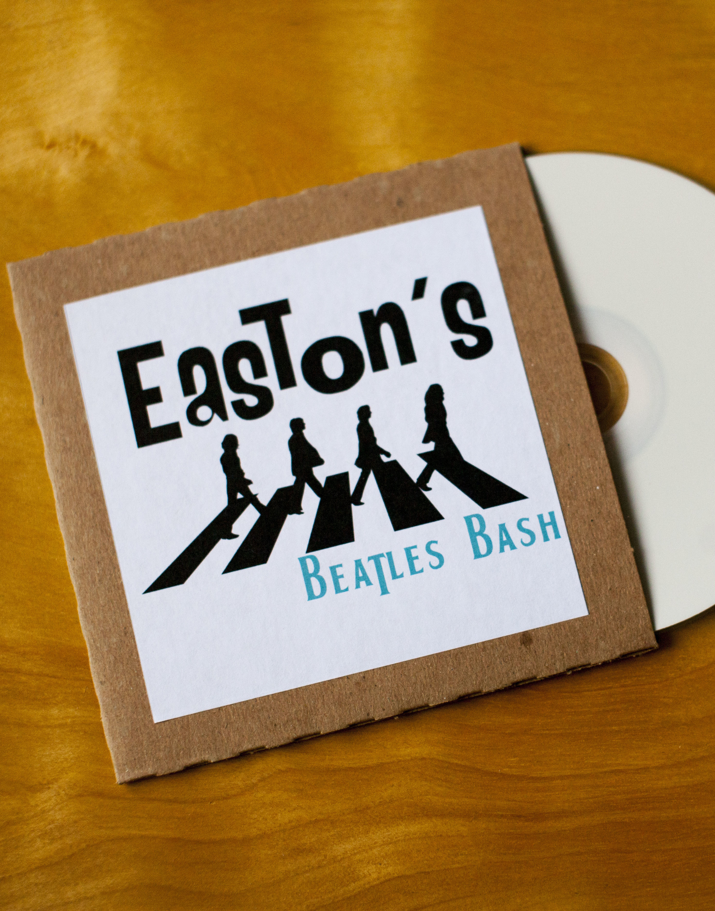Beatles Bash Invitation with CD Enclosure by Down Emery Lane