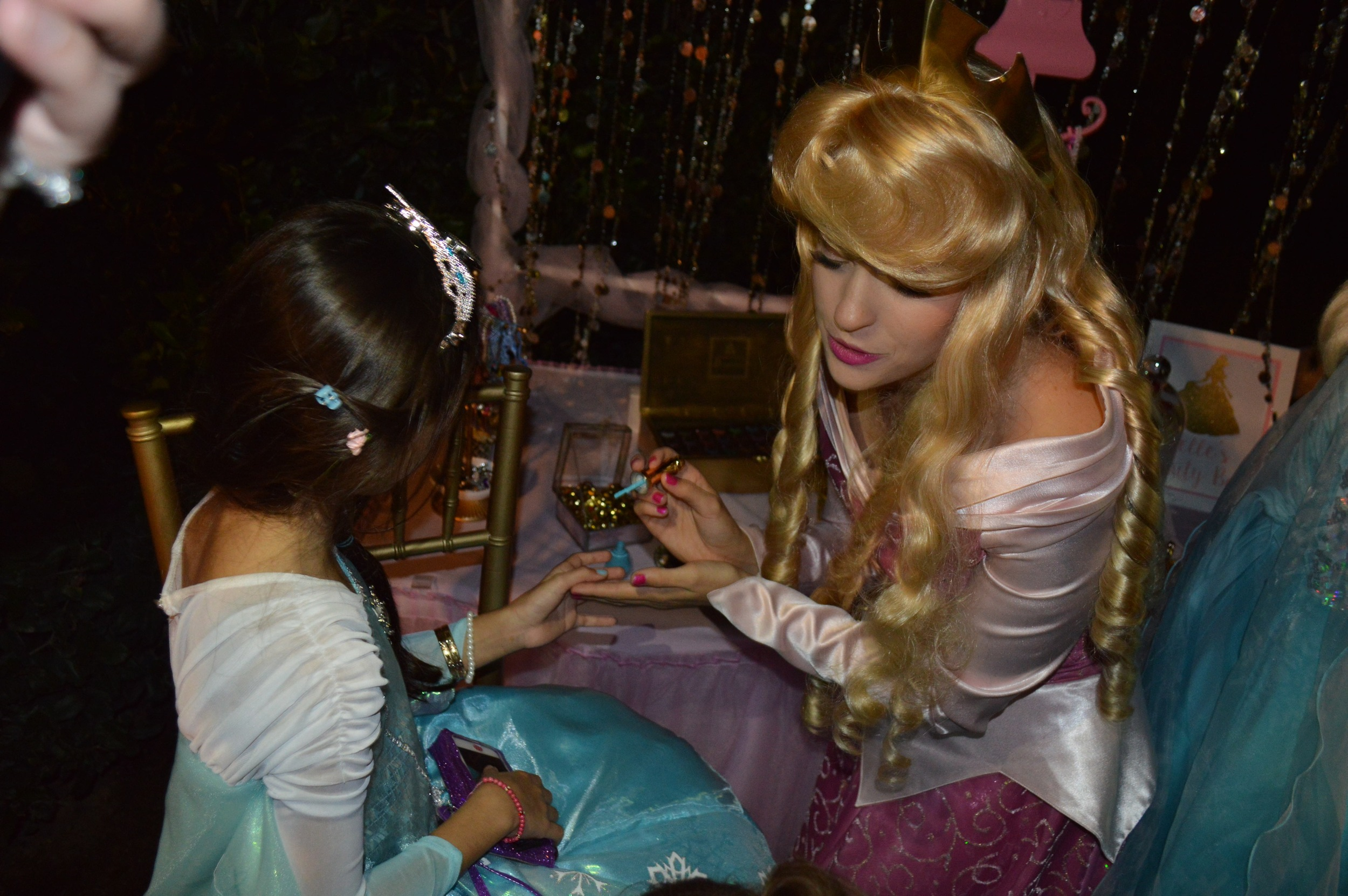 Sleeping Beauty arrived in the evening for manicures and a sing-a-long.