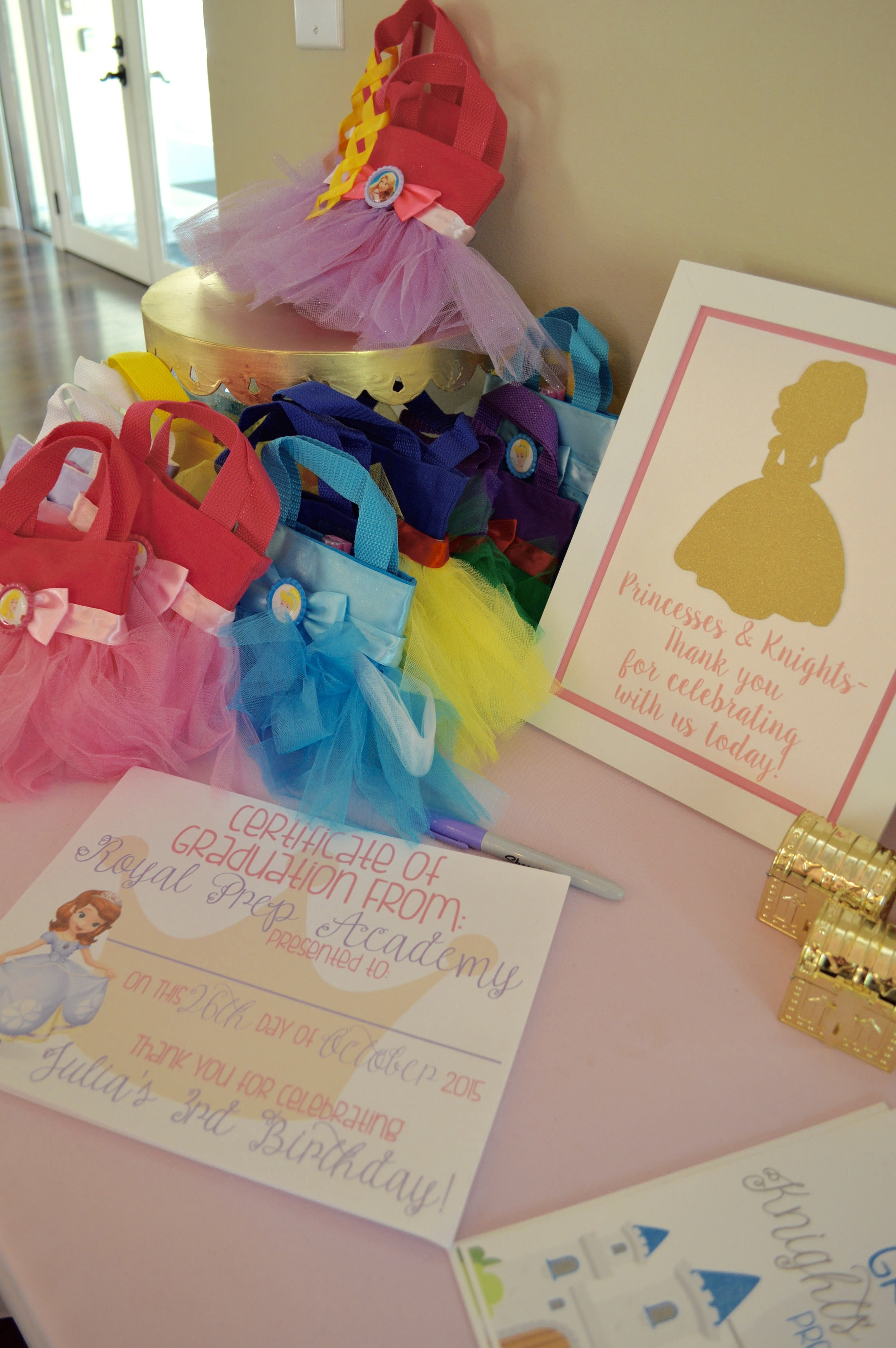 Guests were provided a certificate of completion for their transformation during the party. The little girls also received these adorable princess bags from  Little Hearts N Crafts .