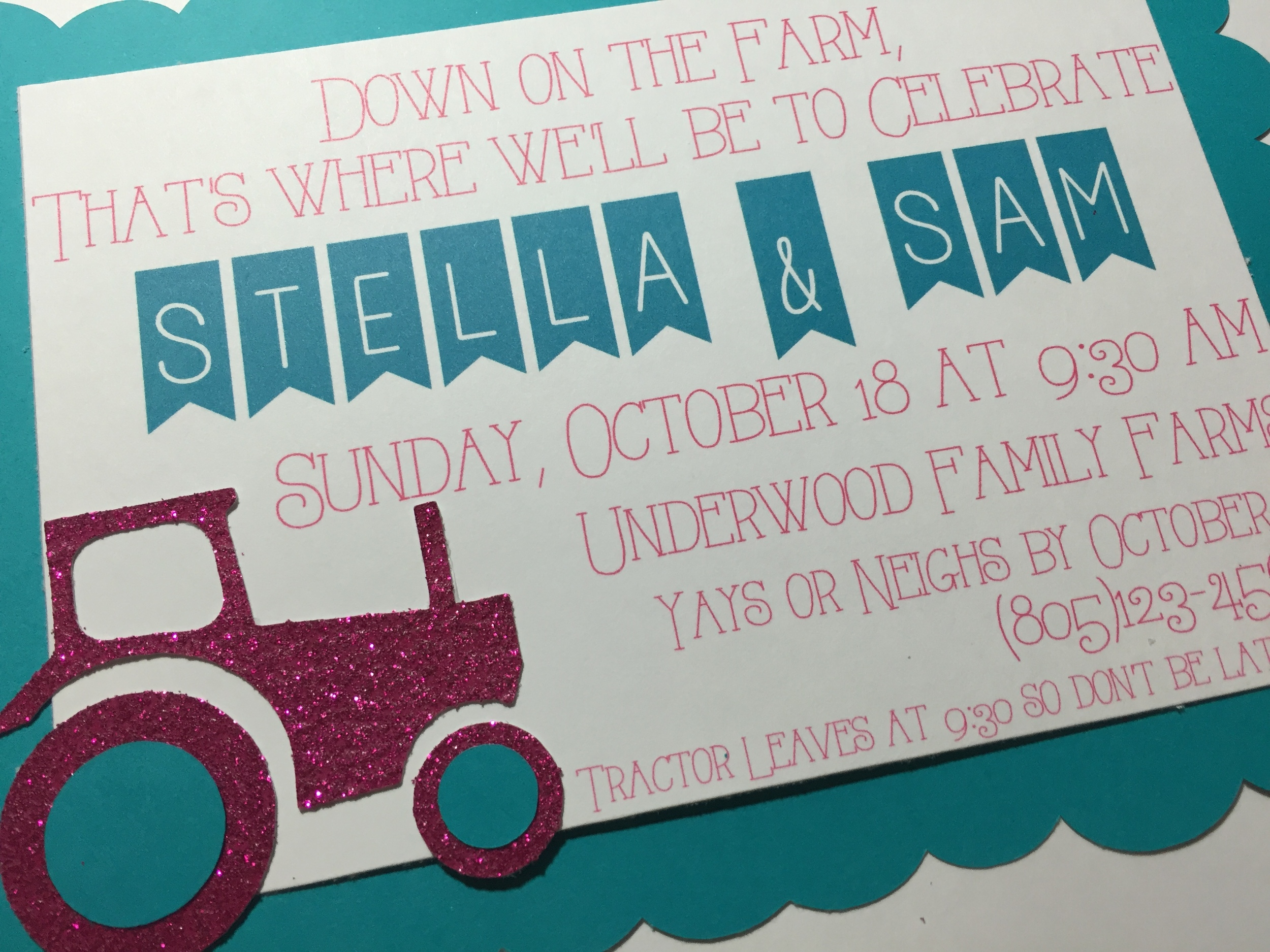 Pink & Turquoise tractor invitation