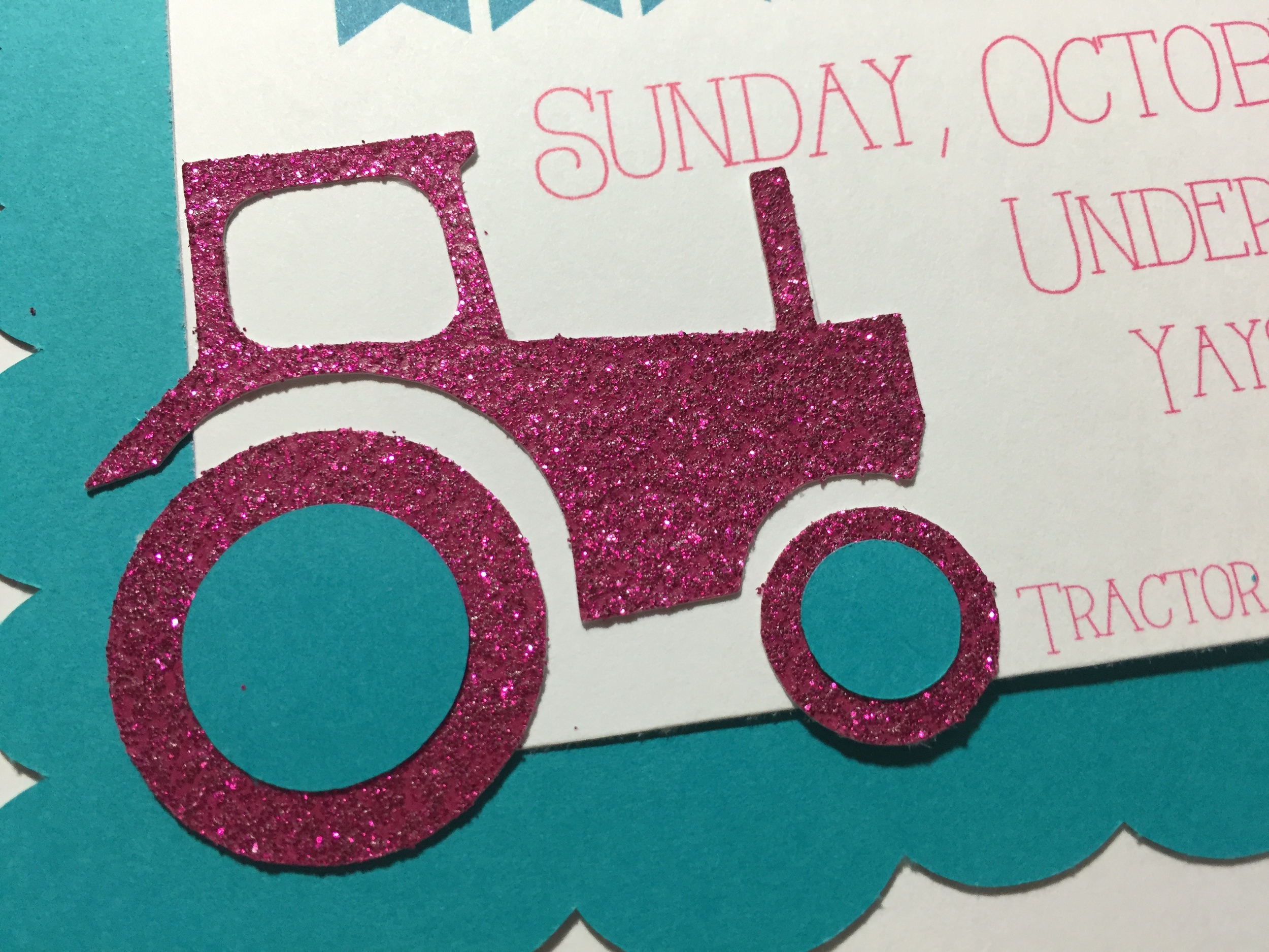Glitter Tractor Invitation by Down Emery Lane.