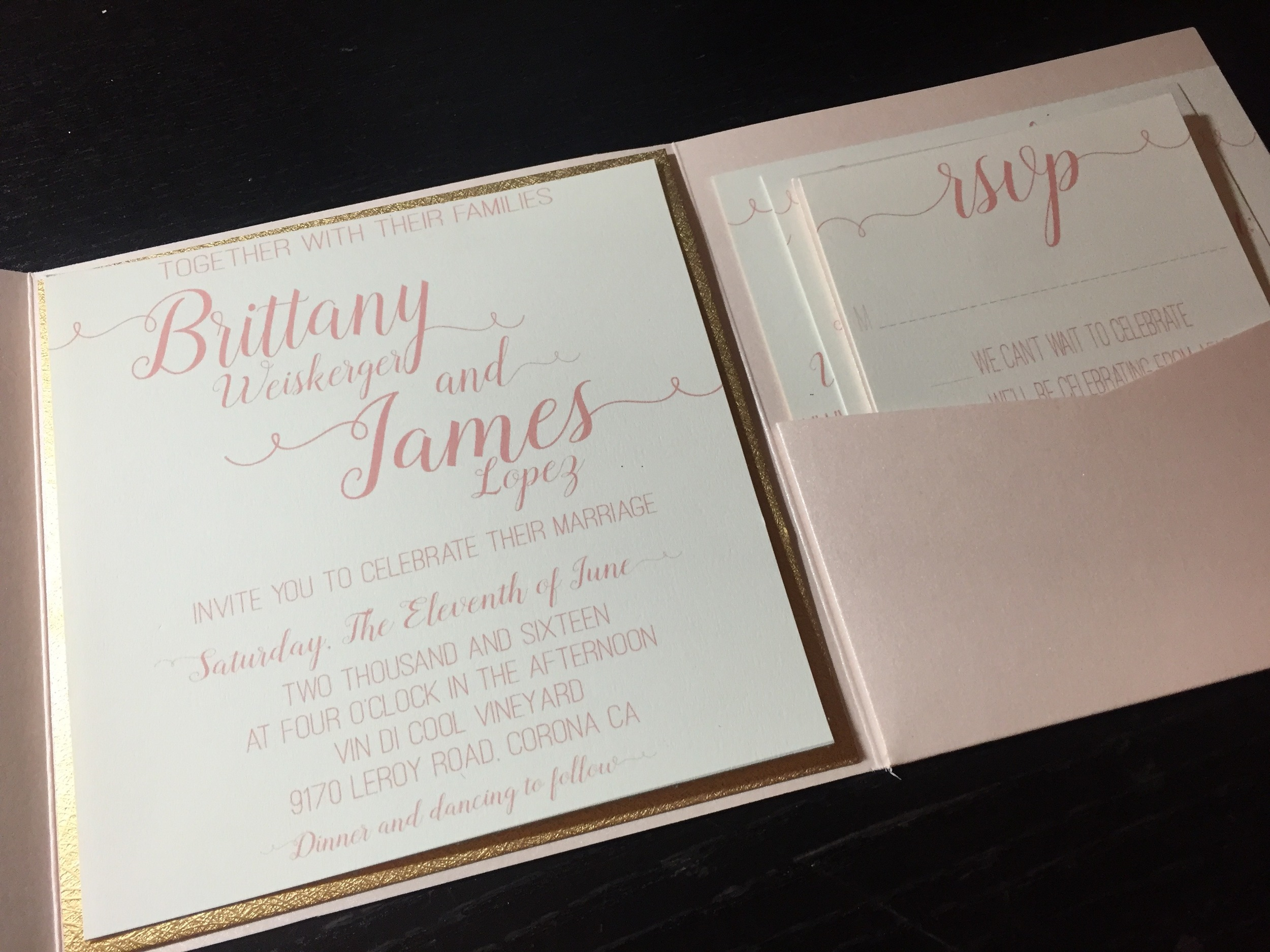 Blush & Cream Pocket Wedding Invitation