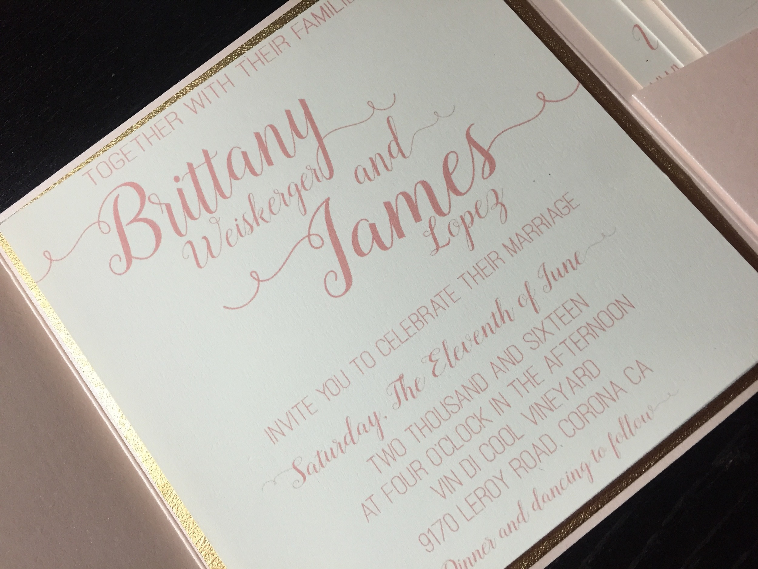Blush & Cream Wedding Invitation