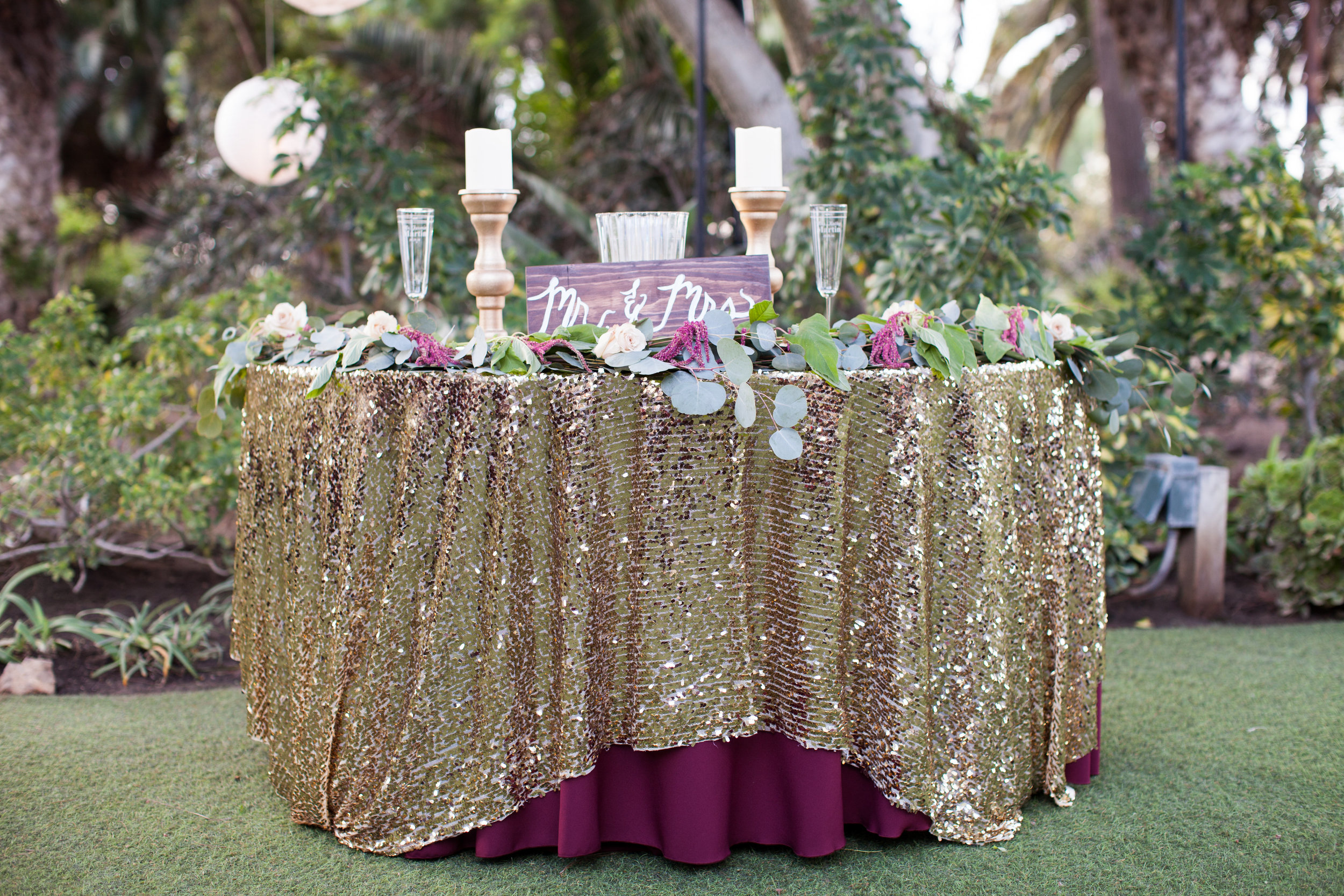Burgundy & Gold sweetheart table by Down Emery Lane