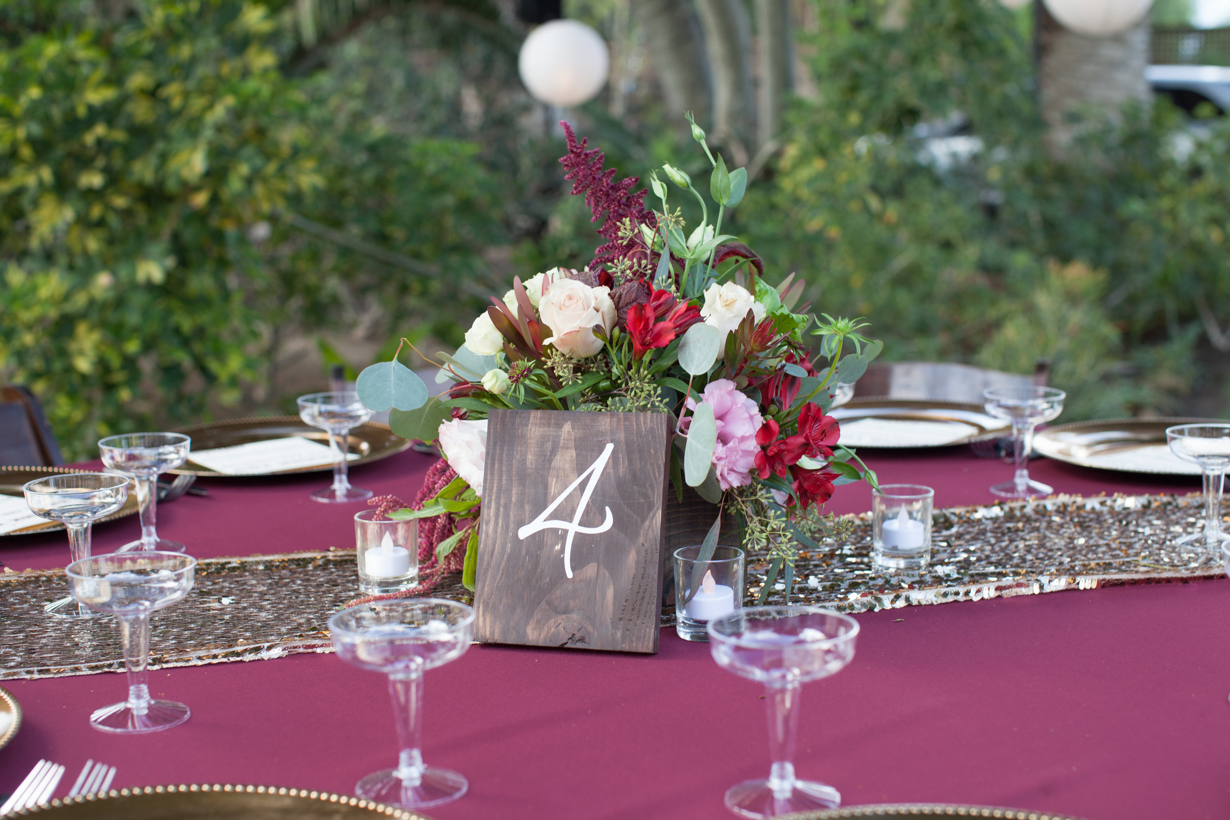 Burgundy & Gold Table by Down Emery Lane.