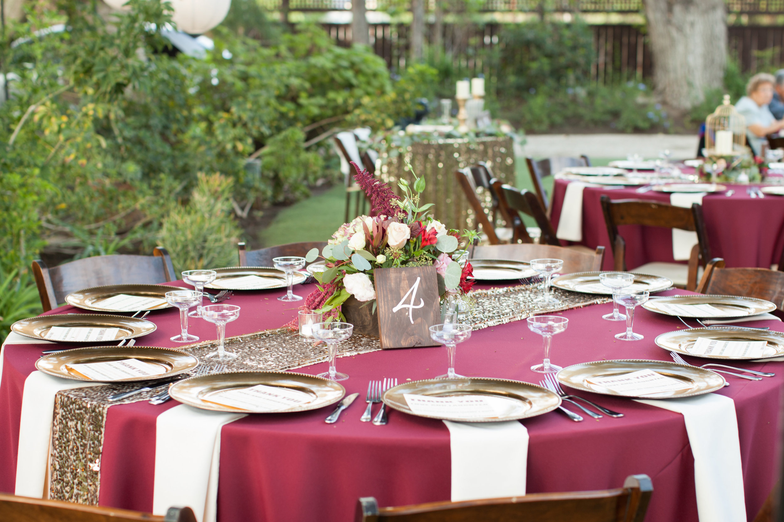 merlot and gold tablescape by Down Emery Lane.