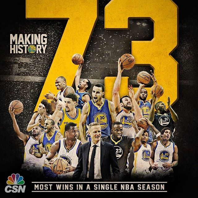 Yeeeee! 73 Wins!! History was made tonight! It's been a long journey... now let's go get this championship! Back to back! #Dubs #Warriors #goldenstatewarriors #gswarriors #73 #nba #DubNation #stephcurry #history #backtoback